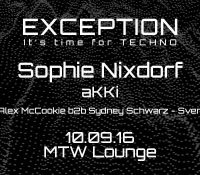 10.09.2016 // Sophie Nixdorf @ EXCEPTiON: It's time for Techno